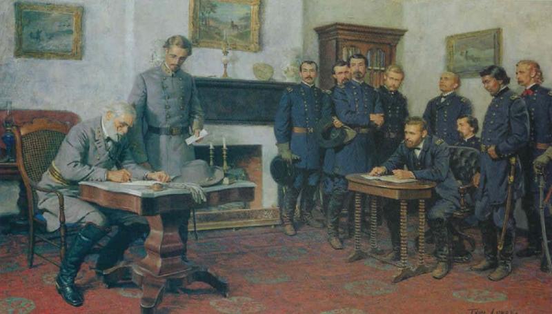 robert e lee surrender at appomattox. Robert E. Lee surrendered